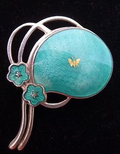 Aksel Holmsen Sterling Silver and Enamel Pin Brooch Made in Norway