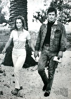 Jours de France August 1968  Romy Schneider & Alain Delon strolling hand in hand