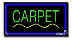 "Carpet Neon Sign - 20"" x 37""-ANS1500-0338-R  37"" Wide x 20"" Tall x 3"" Deep  Flashing Border ""ON/OFF"" switch  Sign is mounted on an unbreakable black or clear Lexan backing  Top and bottom protective sides  110 volt U.L. listed transformer fits into a standard outlet  Hanging hardware & chain included  6' Power cord with standard transformer  For indoor use only  1 Year Warranty on electrical components."