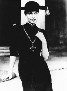 "Pretino Dress. Anita Ekberg donned a similar version of the ""pretino"" in Fellini's film La Dolce Vita,"