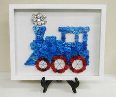 Little Blue Train Framed Nursery Button Art by CustomsByCristina