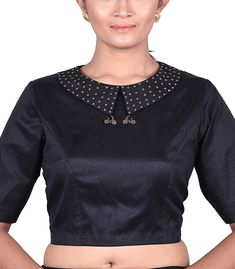 Black Raw Silk Solid peter pan collar Designer Blouse - BL40312 | Indian Silk House Agencies Blouse Designs High Neck, High Neck Blouse, Designer Blouses Online, Cocktail Wear, Black Wardrobe, Indian Blouse, Dupion Silk, Beautiful Blouses, Black Fabric