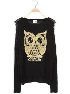 Black Beaded Owl Knit Pullover