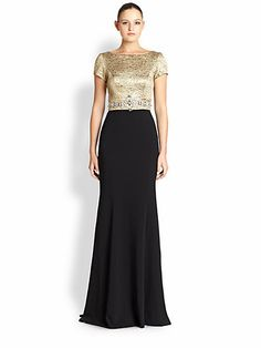 Theia Brocade-Bodice Crepe Gown