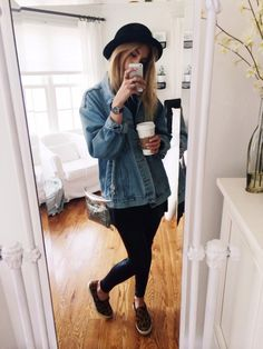 brandy denim jacket and steve madden slip ons