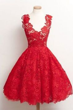 On Sale Colorful Vintage Prom Dresses Vintage 2018 Scoop Red Lace Knee-Length Homecoming Dresses Prom Gowns Robes Vintage, Vintage Dresses, Vintage Prom, Vintage Lace, Vintage Embroidery, Vintage Style, Vintage Inspired, Vestidos Vintage, Retro Vintage