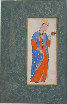 Portrait of a Woman Object Name: Illustrated single work Date: 16th century Geography: Iran Culture: Islamic Medium: Tempura on paper Dimensions: H. 10 1/4 in. (26 cm) W. 6 5/8 in. (16.8 cm) Classification: Codices