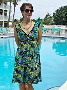 I love the fact this dress is reversible.  The v back is so cool for summer, and would make a nice date night dress too.  And the pattern is free - can't beat that!