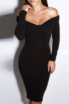 Women's Chic Pure Color Long Sleeve V-Neck Dress