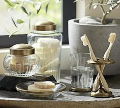 Bathroom Canisters, Wastebaskets & Toothbrush Holders   Pottery Barn