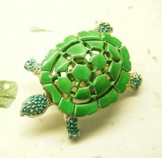 Turtle Pin Vintage Tortoise Brooch Green Enamel ANIMAL CHARITY DONATION