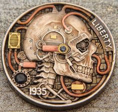 Hand carved 1935 buffalo nickel with inlaid gold, copper, sapphire and diamond Canvas Wall Art Quotes, Hobo Nickel, Skull Hand, Coin Art, Challenge Coins, Old Coins, Coin Jewelry, Weird Art, Metal Art