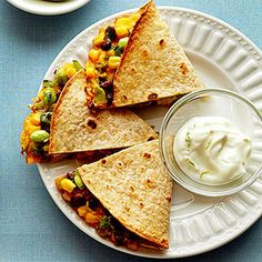 Edamame, Black Bean & Corn Quesadillas with Lime Crema