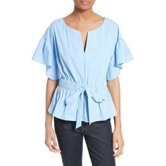 Women's Milly Vivian Stretch Poplin Peplum Top (17.495 RUB) ❤ liked on Polyvore featuring tops, sky, milly top, peplum tops, poplin top, stretchy tops and blue top