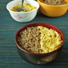 Japanese minced chicken and egg rice bowl (soboro don)