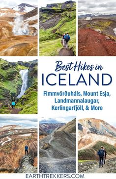 Best day hikes in Iceland, including the Skogafoss Waterfall Trail, Mount Esja, Fimmvorduhals, Glymur Waterfall, Landmannalaugar, hikes on the Snaefellsnes Peninsula, and more. #iceland #hiking #adventuretravel Iceland Destinations, Iceland Travel, Europe Travel Tips, European Travel, Amazing Destinations, Travel Guides, Cool Places To Visit, Places To Travel, Iceland Waterfalls