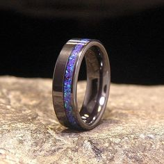 Blue Amethyst Lab Opal Wide Offset Inlay Black by HolzRingShop