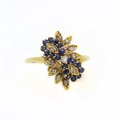 10K Yellow Gold Diamond Blue Sapphire Cluster Flower Ring  Size 6.5  100% REAL  #UniQJewels #Cluster #Birthday