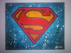 Superman - Newspaper and acrylic - 9x12 inches, deep edge canvas