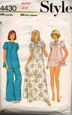 Style 4430 Womens Puff Sleeved Nightdress or Pajamas 70s Vintage Sewing Pattern Size MEDIUM 12 - 14 Bust 34 - 36 inches