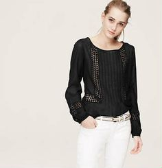 Perfect to wear for all seasons and to dress up and down. Crochet Inset Peasant Blouse