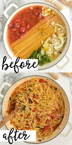 This simple one pot pasta recipe is ready in less than 30 minutes and cooks entirely in one pot. Not only does it taste delicious, but it's incredibly easy to throw together as a quick weeknight family meal. meals pasta One Pot Pasta Easy Pasta Recipes, Spaghetti Recipes, Chicken Pasta Recipes, Healthy Dinner Recipes, Cooking Recipes, Skillet Recipes, Cooking Gadgets, Pizza Recipes, Meal Recipes