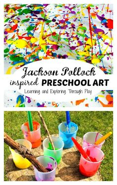 Learning and Exploring Through Play: Jackson Pollock Preschool Art. Famous Artists for Toddlers. Painting ideas for kids. Summer ideas for kids.