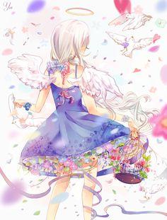 Anime angel with birds. Girl G, Anime Angel, Anime Artwork, Anime Shows, Yandere, Manga Art, Anime Characters, Amazing Art, Wings