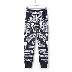 Casual Style Lace-Up Abstract Letters Print Elastic Cuffs Slimming Narrow Feet Men's Pants