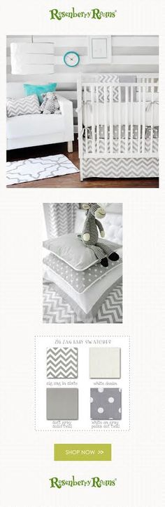 Create a stylish nursery with the Gray Ziggy Crib Bedding Set. Fun mix and match patterns and neutral colors make this crib bedding set perfect for a boy or girl!
