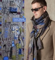 Abstract Logic / Nuno Felt Art Scarf for Man Nuno Felt Scarf, Felted Scarf, Felted Wool, Needle Felting Tutorials, Art Textile, How To Wear Scarves, Nuno Felting, Textiles, Felt Art