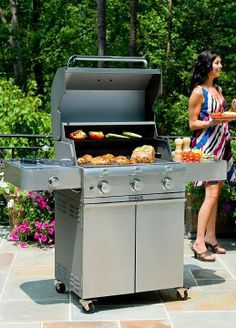 The Saber 3-burner Liquid Propane Grill with Cast Stainless Steel Lid uses a proprietary infrared cooking system that keeps meat naturally moist and tender, even when cooked to well-done.  A great gift for dad this Father's Day!