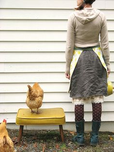 they say do not work with small children and animals... i don't know about that, all i know is working with chickens just brightens my day :)  apron wrap for store update tomorrow (10/29/09), see my profile for details  blogged   etsy