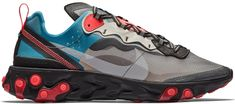Check out the Nike React Element 87 Blue Chill Solar Red available on StockX Grey Nikes, Sneaker Release, Blue Accents, Running Sneakers, Red Shoes, Runway Shoes, Red Dress Shoes