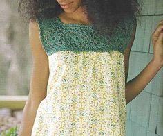 crochet top - I think this would be cute for a nightgown. Beau Crochet, Pull Crochet, Crochet Yoke, Mode Crochet, Crochet Fabric, Crochet Diagram, Thread Crochet, Crochet Trim, Crochet Granny