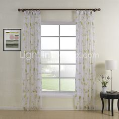 (Two Panels Double Pleated Top) Elegant Print Floral Sheer Curtain - USD $ 46.99