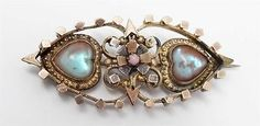 Antique-Victorian-Gold-Filled-Saphiret-Hearts-Pin-Brooch