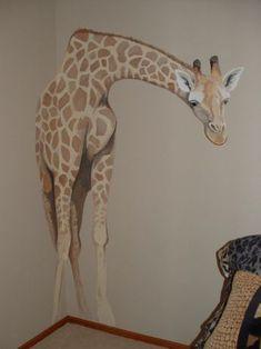 Safari Animals Giraffe Lion Elephant Birds Design Animal D Playroom Mural, Kids Room Murals, Mural Wall Art, Mural Painting, House Painting, Giraffe Room, Jungle Room, Safari Animals, Bird Design