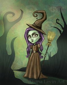 Gothic Steampunk Witch Painting -Wizard of Oz Art Print. $15.00, via Etsy.