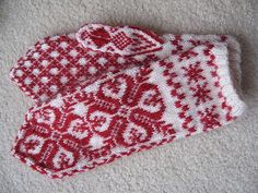 red and white mittens