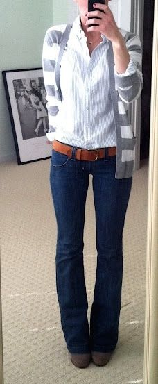 Outfit Posts: outfit post: grey and white cardigan, jeans, buttondown shirt