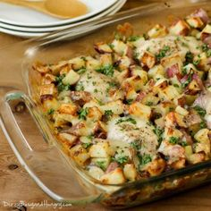 Chicken Potato Bake - Potatoes tossed in garlic and olive oil and baked to a golden brown with tender, juicy chicken thighs. A family favorite! Chicken Potato Bake, Chicken Potatoes, Easy Potato Bake, Recipes With Chicken And Potatoes, Baked Chicken Meals, Chicken Artichoke Bake, Potato Meals, Baked Chicken Tenders, Healthy Baked Chicken