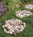 Could make something like this with cake pans, concrete and the rocks I have in the flower bed that I want to move?
