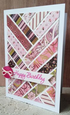 The design for this one comes from Australian Simply Cards magazine, Issue 64. I've used Basic Grey's Eva 6x6 paper pad and cut the paper into 1cm strips which I've stuck onto a panel that's slightly smaller than the card front. More pretty colours!