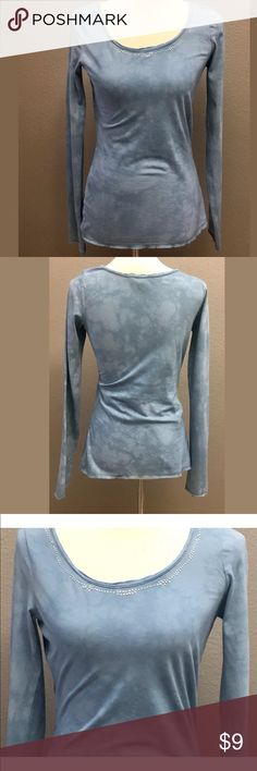 """Express Long Sleeve T-Shirt, Size Small Express tie dye long sleeve t-Shirt with embellished jewels around the neck size Small in great preowned condition  100% Cotton  Measurements taken laying flat  Bust 32"""" & length 24"""" Arrives clean and ready to wear from a smoke free environment Express Tops Tees - Long Sleeve"""