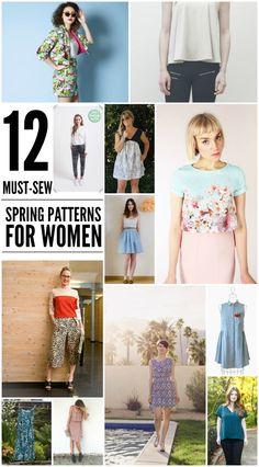 Spring wardrobe inspiration! 12 Must-Sew Spring Patterns For Women. #Spring #fashion #sewing