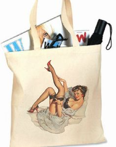 CHOOSE 3 FOR 40  Pin Up Girl Tote  Canvas Tote Bag by ToteMeHappy, $40.00