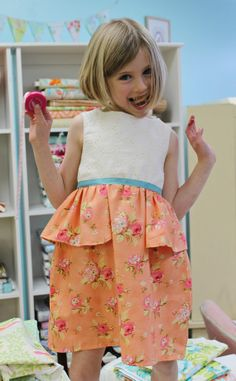 Girls Spring Easter Dress  Peaches & Cream Peplum by LottieDaBaby, $56.00
