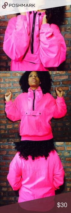 Vintage puffy sports pull-over! 💅🏾💅🏾💅🏾 Bright pink puffy pull-over. Two zip-up side pockets and one big front pocket that has a zipper and Velcro. Neck has a zipper as well. Cinched-waist. Nylon-blend. Thrifted in Alaska. Vintage Jackets & Coats Puffers