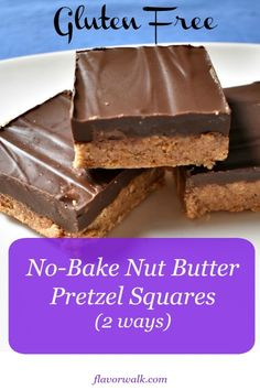 No-Bake Gluten Free Nut Butter Pretzel Squares are easy to make, need only a few ingredients, and will disappear quickly! Simple ingredient swaps make it easy to customize them to fit your taste buds. Gluten Free Quick Bread, Best Gluten Free Desserts, Gluten Free Bars, Gluten Free Brownies, Gluten Free Cookies, Dairy Free, Keto Desserts, Baking Recipes, Real Food Recipes